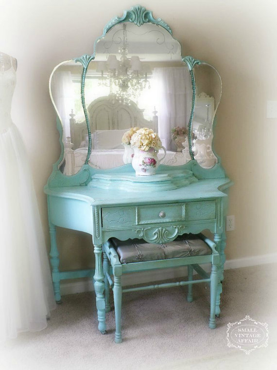 T U R Q U O I S E, Antique Tiara Vanity, Shabby Chic Vanity with matching Stool