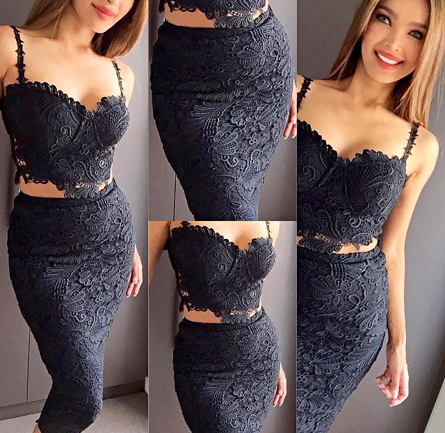 Crochet Bustier Two Piece Bandage Dress Black