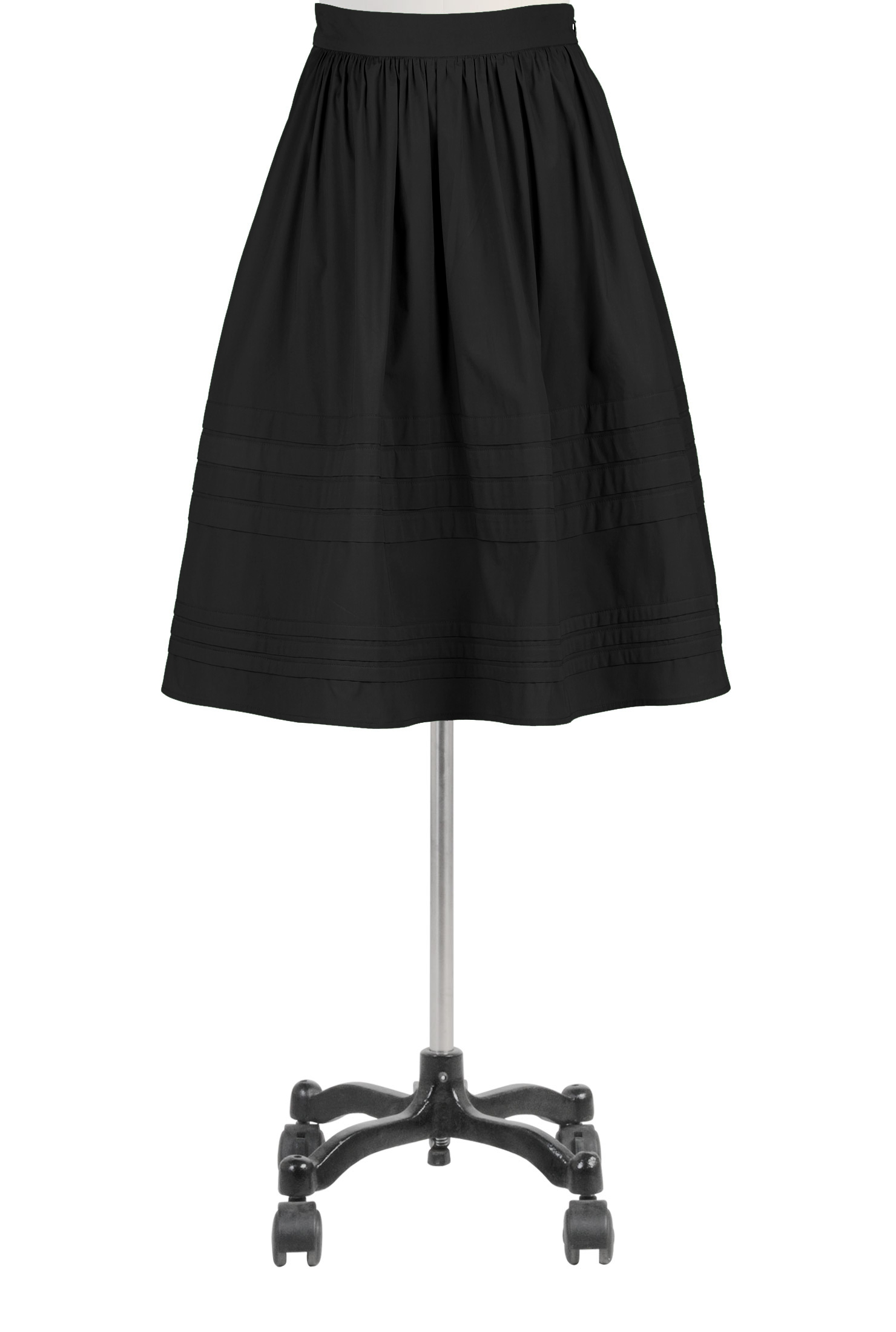 Pintuck pleat poplin skirt