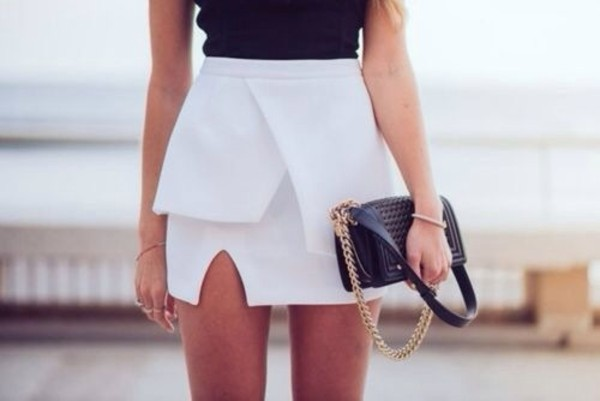 skirt white black white skirt asymmetrical skirt party dress party skirt summer cute fabulous skirt white elegant beautiful i want this so bad asymmetrical skirt white skirt black top bag black bag gold beautiful summer outfits