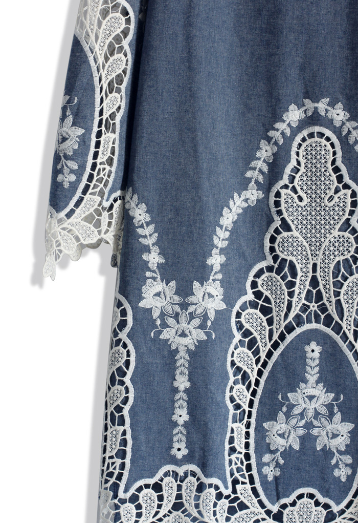 Flawless Baroque Lace Cutout Denim Shift Dress - Retro, Indie and Unique Fashion