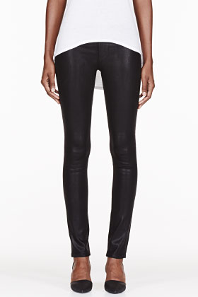 Helmut Helmut Lang Black Waxed Bat Wash Legging for women | SSENSE