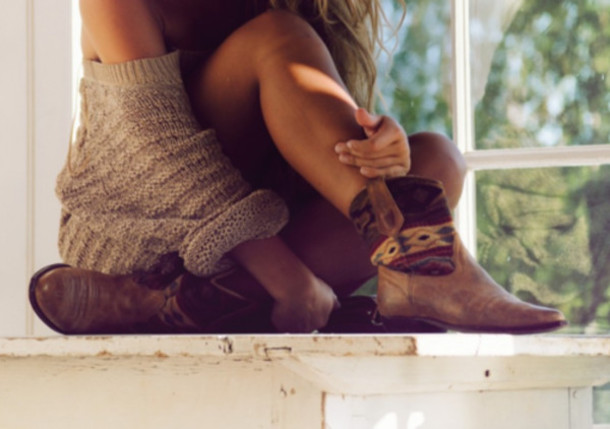 Shoes: girl, shirt, sweater, boots, cowboy, cute, summer, outfit ...