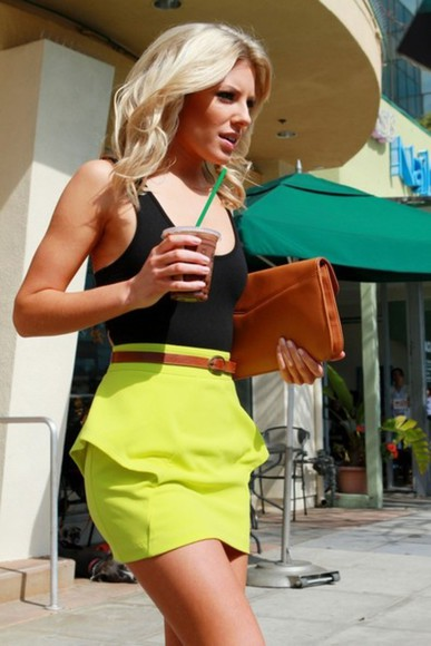 skirt neon skirt neon yellow yellow neon peplum clothes