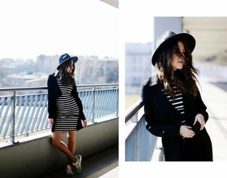 jestem kasia blogger coat hat striped dress