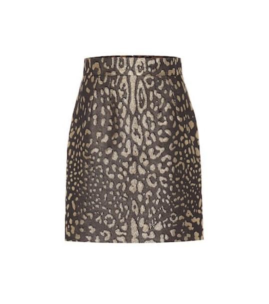 Dolce & Gabbana Leopard-print brocade miniskirt in brown