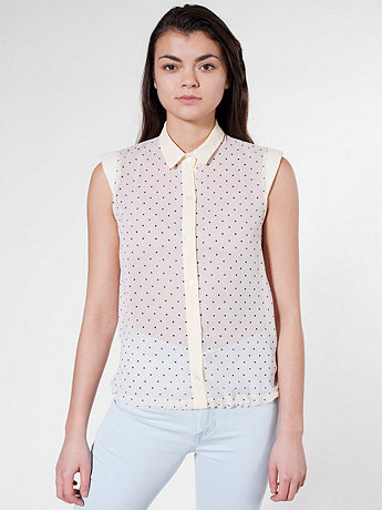 Polka Dot Wedge Shoulder Chiffon Blouse | American Apparel