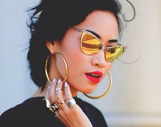 cat eye hoop earrings red lipstick mirrored sunglasses ring sunglasses gold accessories