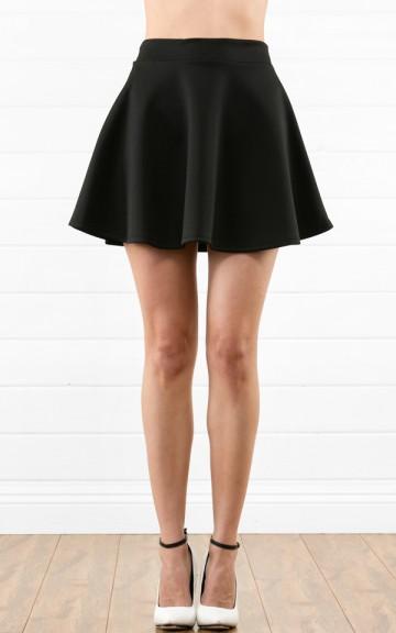 Black Simple Scuba Skater Skirt | MakeMeChic.com