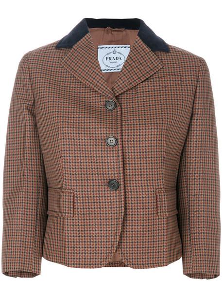 Prada jacket women mohair leather cotton wool velvet brown