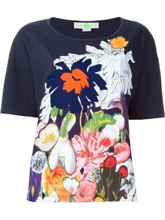t-shirt shirt floral print blue top