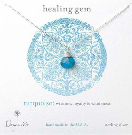 Dogeared Turquoise Briolette Sterling Silver Healing Gem Necklace