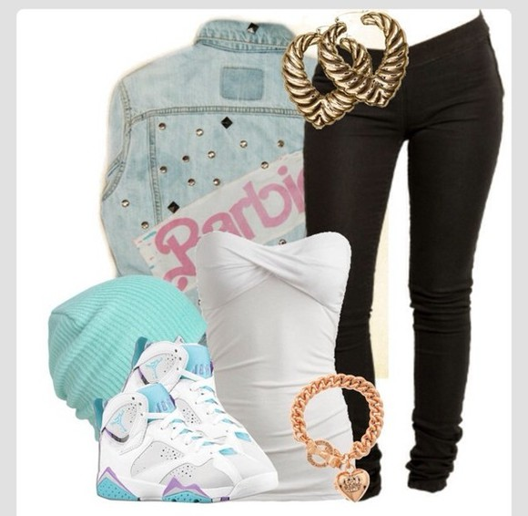 earings shoes necklace jordans air jordans 7 chunky necklace gold, chain, necklace jean sweatshirt jacket turquoise beanie jacket