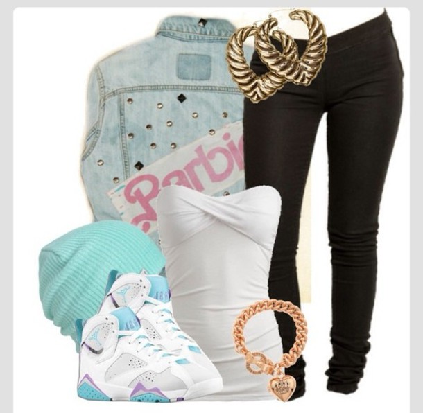shoes jordans air jordans 7 necklace chunky necklace gold earings jean sweatshirt jacket turquoise beanie jacket jeans