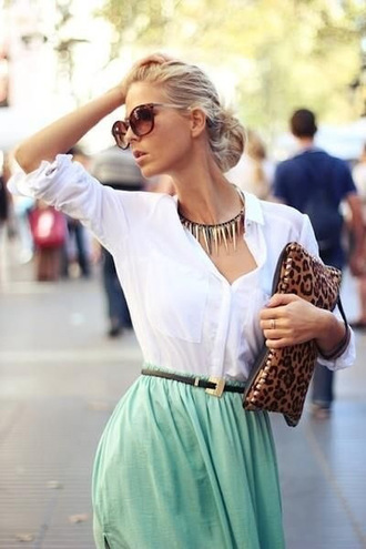 blouse skirt white whiteshirt blue skirt light blue necklace sunglasses purse bag clutch high waisted skirt dress summer dress cute dress green dress long skirt