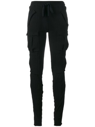 women spandex fit cotton black wool pants