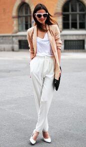pants,office supplies,white pants,top,white top,blazer,peach blazer,sunglasses,white sunglasses,fashion vibe,blogger,bag,black bag,pumps,pointed toe pumps,white pumps