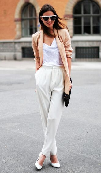 pants office supplies white pants top white top blazer peach blazer sunglasses white sunglasses fashion vibe blogger bag black bag pumps pointed toe pumps white pumps