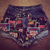 shorts,star wars,denim shorts,bleached short