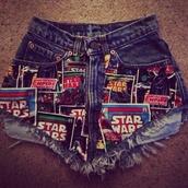 shorts,star wars,denim shorts,bleached short