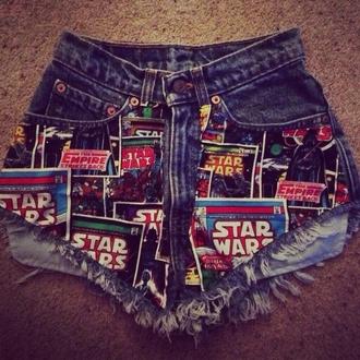 shorts star wars denim shorts bleached short