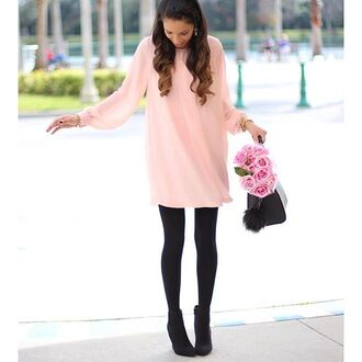 dress blush pink tunic tunic dress light pink black leggings blogger babydoll dress