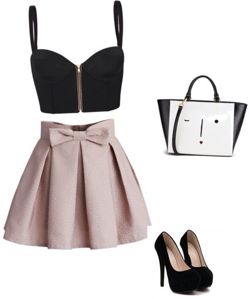 skirt bows pink skirt top