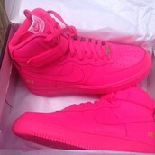pink,nike,pink sneakers,pink shoes,bright sneakers,shoes,nike air force 1,high top sneakers,nike sneakers,blouse,all pink air force ones,hot pink,air jordan,nike shoes,airforce 1 bubblegum pink
