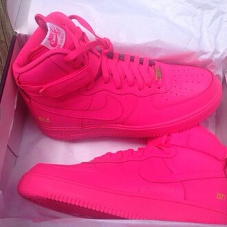 pink nike pink sneakers pink shoes bright sneakers shoes nike air force 1 high top sneakers nike sneakers blouse all pink air force ones hot pink air jordan nike shoes