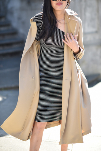 dress tumblr one shoulder stripes striped dress midi dress coat trench coat