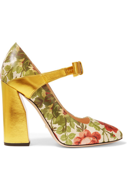 Gucci for NET-A-PORTER pumps floral leather print rose gold shoes
