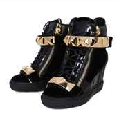 guiseppe zanotti,wedge sneakers,sneakers,black sneakers,gold,studs