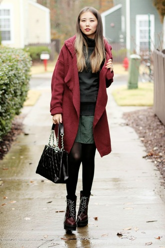 cardigan blogger different cands red coat chanel drmartens