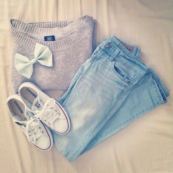 sweater jeans shoes jewels nail accessories jacket grey outfit blouse