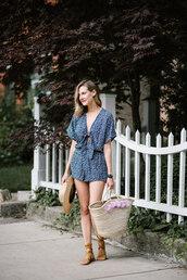 romper,tumblr,blue romper,sandals,flat sandals,bag,woven bag,shoes