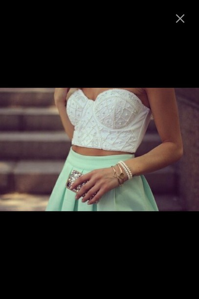 top skirt pastel jewels bracelets pearl crop tops bralette fancy sleeveless modern t-shirt crochet cropped dress