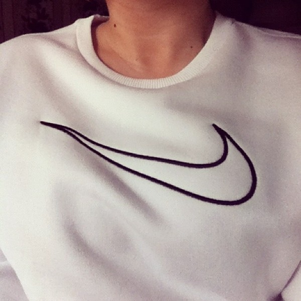 sweater white nike white sweater sweatshirt comfy tumblr sweater comfysweater tumblr clothes crewneck dope indie hipster black and white black outline sweater sportswear minimalist