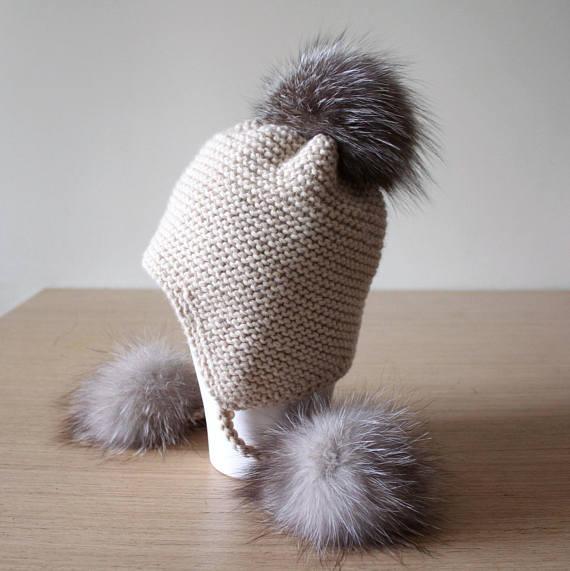 Winter hat with pom pom, Fur pom pom hat, Peruvian hat, Hat with ear flaps, Fur bobble hat, Trapper hat, Beige hat, Chunky knit hat
