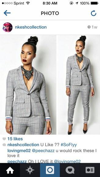 blazer grey dressy casual pants