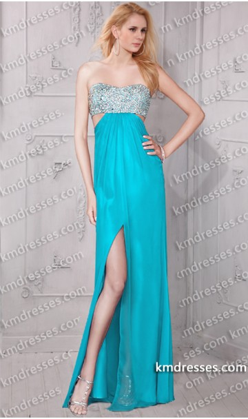 amazing beaded side cutouts front slit open back floor length formal dress