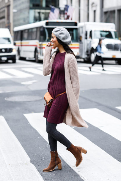 dress tumblr sweater dress mini dress burgundy dress burgundy cardigan nude cardigan boots suede suede boots brown boots opaque tights tights beret