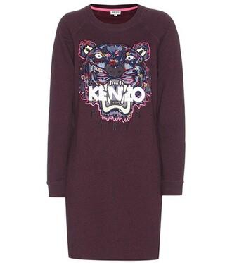 dress sweatshirt dress embroidered cotton purple