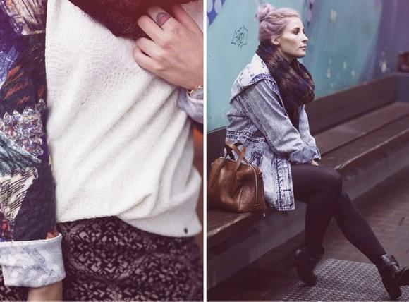 jacket denim denim jacket blogger bag jewels like a riot scarf jacquard