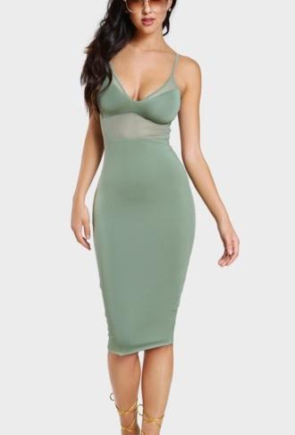 dress girly green bodycon dress body bodycon mesh mesh dress midi dress