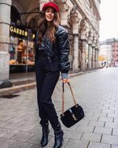 hat,red hat,black jacket,tumblr,fisherman cap,pants,black pants,jacket,boots,black boots,bag,black bag