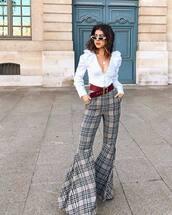 pants,flare pants,checkered pants,belt,white blouse,v neck,white sunglasses