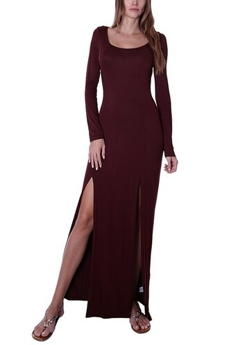 dress trendyish scoop neck long sleeves maxi double slit