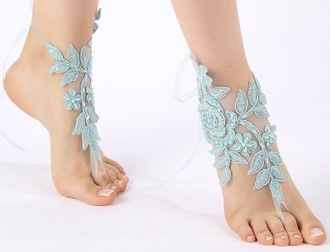 shoes barefoot sandals beach wedding lace blue ankle lace sandals