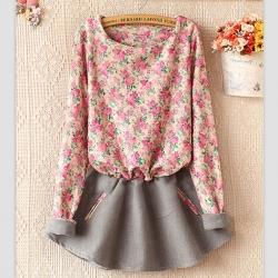 WQM14020808-Vestido gris con flores