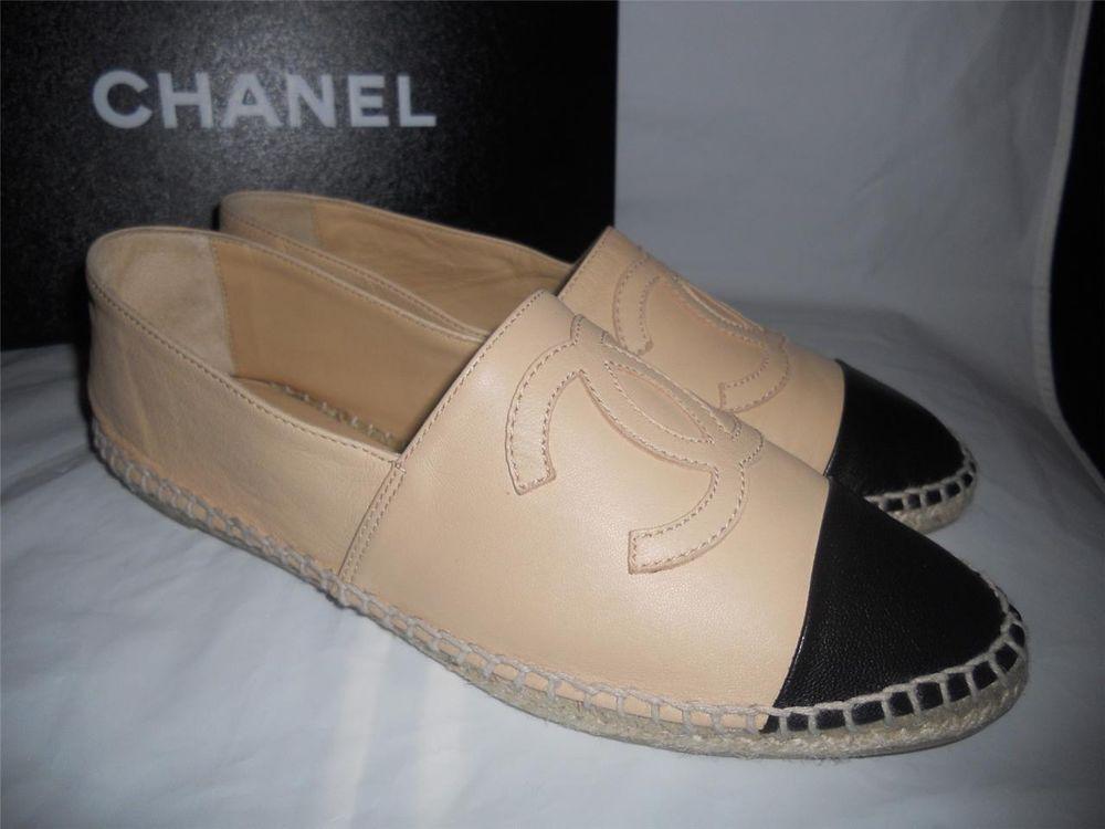 Chanel 14c Leather TwoTone Cap Toe CC Logo Espadrille Flat Shoes Beige Black | eBay